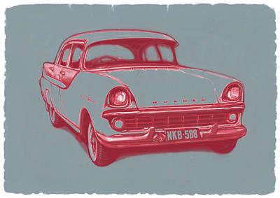 1960 Fb Holden Car Art Sketch Poster Print by Kim Wang