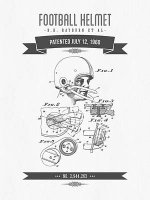 1960 Football Helmet Patent Drawing - Retro Gray Print by Aged Pixel