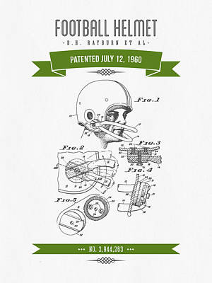 1960 Football Helmet Patent Drawing - Retro Green Print by Aged Pixel