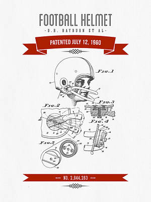 1960 Football Helmet Patent Drawing - Retro Red Print by Aged Pixel
