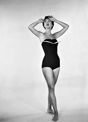Fashion Model Photograph - 1960s Bathing Suit Design by Underwood Archives