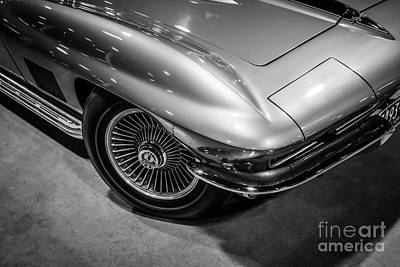 Tired Photograph - 1960's Corvette C2 In Black And White by Paul Velgos