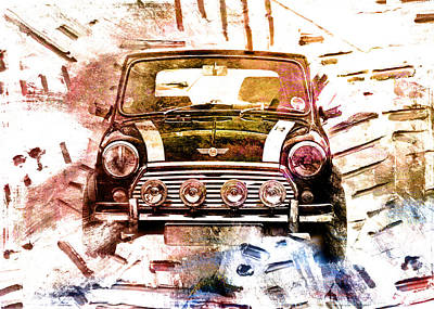 1960s Digital Art - 1960s Mini Cooper by David Ridley