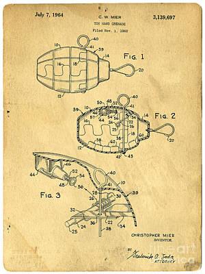 1960s Toy Hand Grenade Print by Edward Fielding