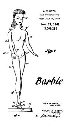 Barbie Drawing - 1961 Barbie Doll Patent Art 4 by Nishanth Gopinathan