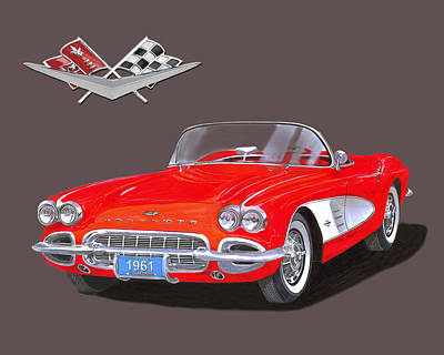 Two Tailed Mixed Media - 1961 Corvette Convertible by Jack Pumphrey