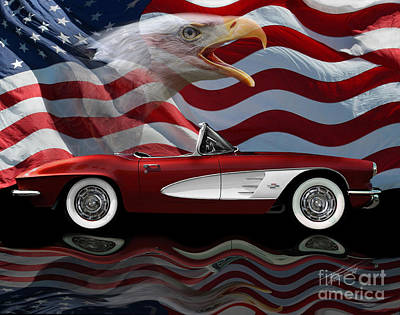 1961 Corvette Tribute Print by Peter Piatt