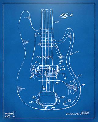 Cave Digital Art - 1961 Fender Guitar Patent Minimal - Blueprint by Nikki Marie Smith