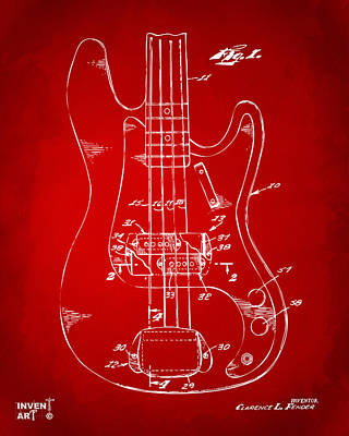 Cave Digital Art - 1961 Fender Guitar Patent Minimal - Red by Nikki Marie Smith