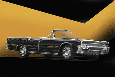 1961 Lincoln Continental Convertible Print by Dave Koontz