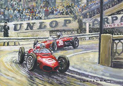 1961 Monaco Gp Ferrari 156 #40 Trips #36 Ginther Original by Yuriy Shevchuk