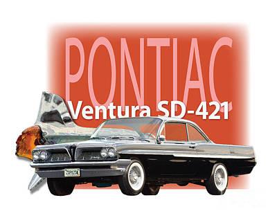 Poncho Digital Art - 1961 Pontiac Ventura Sd-421 by Dan Knowler