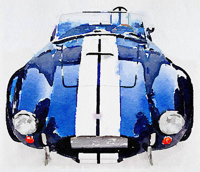 Old Car Painting - 1962 Ac Cobra Shelby Watercolor by Naxart Studio