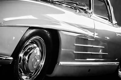 Mercedes Benz 300 Classic Car Photograph - 1962 Mercedes-benz 300sl Roadster Wheel -0669bw by Jill Reger