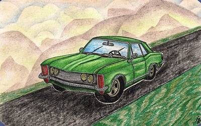 Family Car Drawing - 1963' Buick Riviera by Gene Pippert