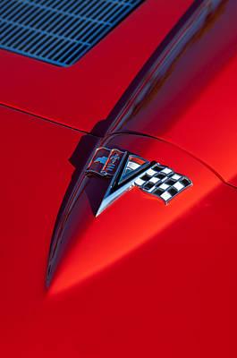 1963 Photograph - 1963 Chevrolet Corvette Hood Emblem by Jill Reger