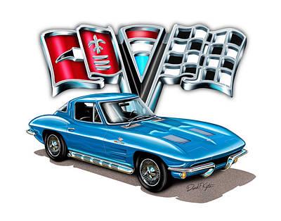 Split Digital Art - 1963 Corvette Split Window In Blue by David Kyte