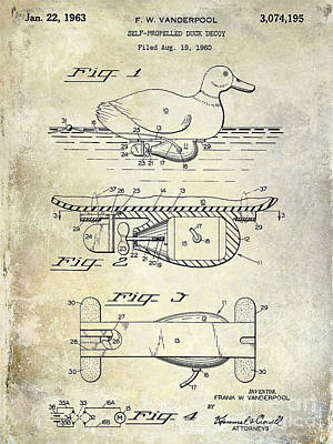 1963 Duck Decoy Patent Drawing Print by Jon Neidert