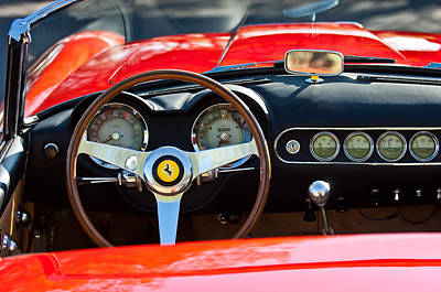 1963 Ferrari Steering Wheel -0274c Print by Jill Reger