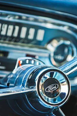 1963 Photograph - 1963 Ford Falcon Futura Convertible  Steering Wheel Emblem by Jill Reger