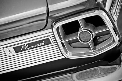 Fury Photograph - 1963 Plymouth Fury Taillight Emblem -3321bw by Jill Reger
