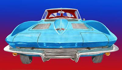 1963 Split Window Corvette Front Print by Jack Pumphrey