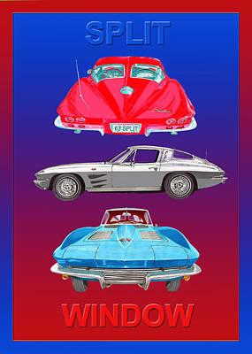 1963 Split Window Corvette Print by Jack Pumphrey