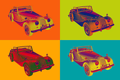 Black Top Digital Art - 1964 Morgan Plus 4 Convertible Pop Art by Keith Webber Jr