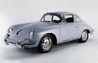 Old Mixed Media - 1964 Porsche 356b Watercolor by Naxart Studio