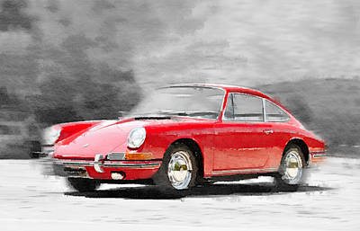 Old Car Painting - 1964 Porsche 911 Watercolor by Naxart Studio