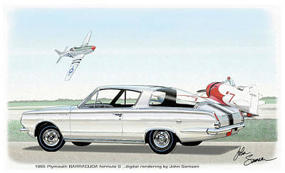 Roadrunner Digital Art - 1965 Barracuda  Classic Plymouth Muscle Car by John Samsen