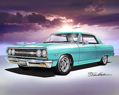 Muscle Car Drawings Painting - 1965 Chevelle Ss by Danny Whitfield