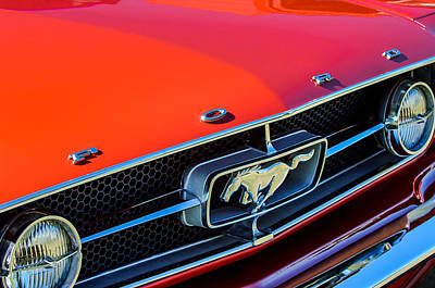 1965 Ford Mustang Grille Emblem Print by Jill Reger
