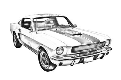 1965 Gt350 Mustang Muscle Car Illustration Print by Keith Webber Jr