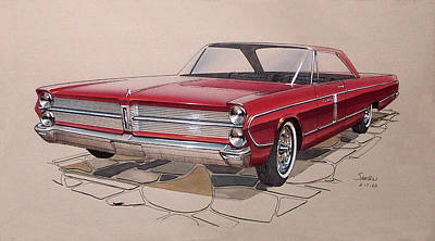 Concept Cars Mixed Media - 1965 Plymouth Fury  Vintage Styling Design Concept Rendering Sketch by John Samsen