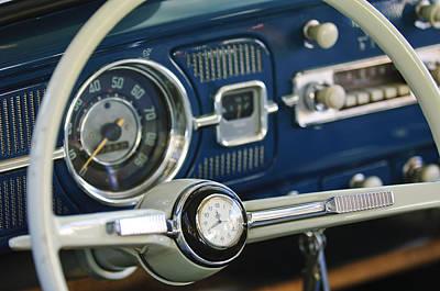 1965 Volkswagen Vw Beetle Steering Wheel Print by Jill Reger