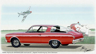 Roadrunner Digital Art - 1966 Barracuda  Classic Plymouth Muscle Car Sketch Rendering by John Samsen