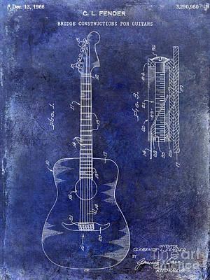 Acoustic Guitar Photograph - 1966 Fender Acoustic Guitar Patent Drawing Blue by Jon Neidert