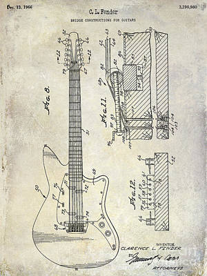 Mandolin Photograph - 1966 Fender Guitar Patent Drawing  by Jon Neidert