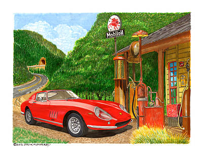 Signed Poster Drawing - 1966 Ferrari 275 G B T Getting Gas by Jack Pumphrey