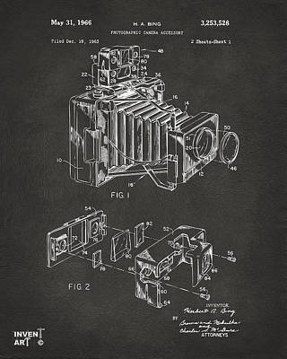 Monocromatic Drawing - 1966 Photographic Camera Accessory Patent Gray by Nikki Marie Smith