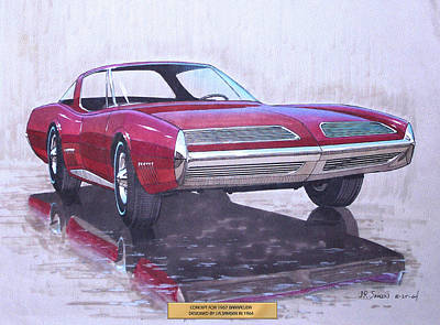 Concept Cars Mixed Media - 1967 Barracuda  Plymouth Vintage Styling Design Concept Rendering Sketch by John Samsen
