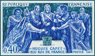 1967 Hugues Capet Elected King Of France Print by Lanjee Chee