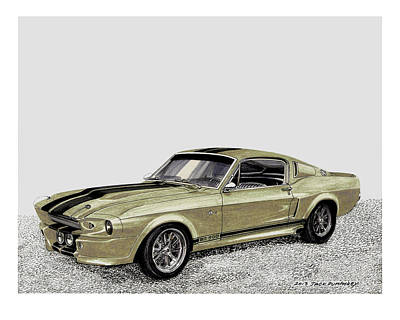 Cobra Drawing - 1967 Shelby Mustang Eleanor Go Baby Go by Jack Pumphrey
