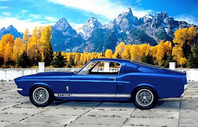 Cobra Mixed Media - 1967 Shelby Mustang Gt 500 by Walter Colvin