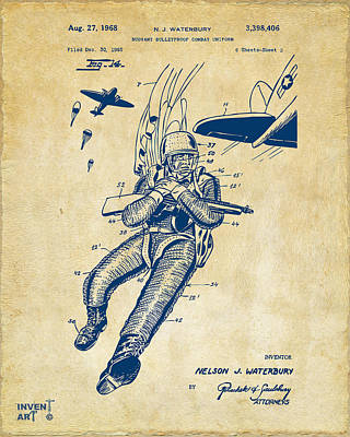 1968 Bulletproof Patent Artwork Figure 14 Vintage Print by Nikki Marie Smith