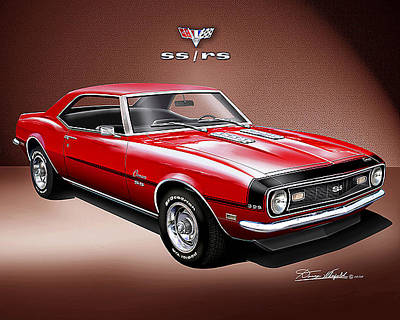 Muscle Car Drawings Painting - 1968 Camaro Z28 by Danny Whitfield