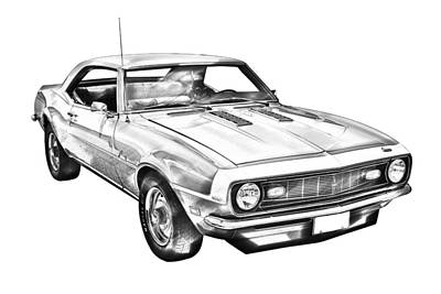 Chevrolet Photograph - 1968 Chevrolet Camaro 327 Muscle Car Illustration by Keith Webber Jr