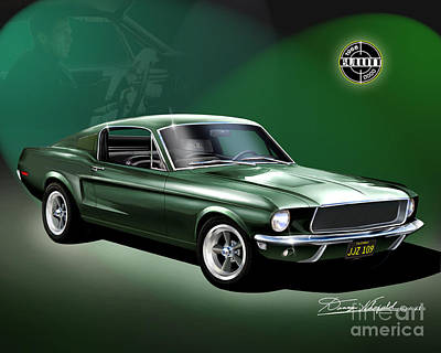 Mustang Drawing - 1968 Ford Mustang Bullitt Featuring Steve Mcqueen   by Danny Whitfield