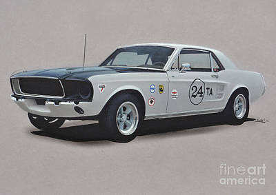 Cobra Drawing - 1968 Ford Mustang Race Car by Paul Kuras